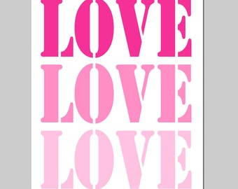 LOVE STENCIL - Nursery Art Decor - 8x10 Typography Print - Choose Your Colors - Shown in Hot PInk, Purple, and More