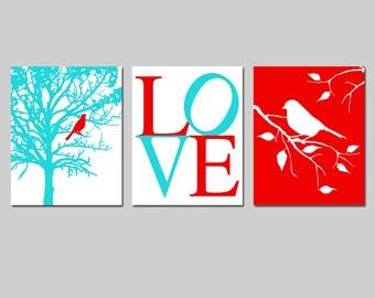 Bird Nursery Art Trio - Set of Three 11x14 Prints - Bird in a Tree, Love, Bird on a Branch - Nature - CHOOSE YOUR COLORS