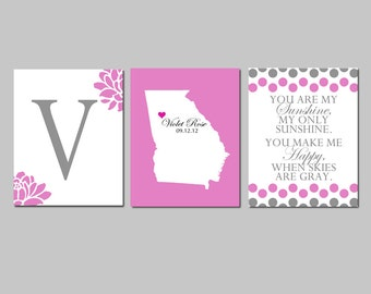 Baby Girl Nursery Art - Set of Three 8x10 Prints - Monogram Floral Initial, Custom Birth State, You Are My Sunshine - Choose Your Colors