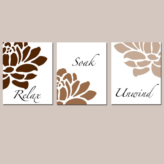 Floral bathroom art set of three 8x10 prints relax soak for Bathroom design ideas 8x10