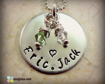 Personalized Mommy Necklace, Custom Hand Stamped Mother Necklace, Children's Names, Birthstone, Grandmother, Mother Jewelry Gift, Kids, Baby