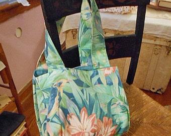 COMFY TROPICAL BIRD Shoulder Bag, Blue Rose Lavender Birds Teal Green Cotton Fabric, Pink Mauve Lilies, Sturdy Roomy Market Purse Handmade