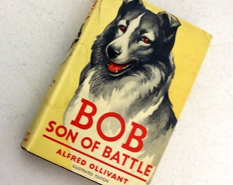 Bob Son Of Battle by Alfred Ollivant - vintage book - Dog collectible -illustrated edition