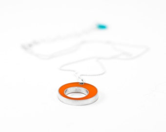 Control Necklace - sterling silver, orange resin --circle Halloween