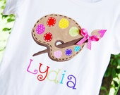Art party birthday shirt, bright colors paint palette with ribbon and polka dots for art party or painting party