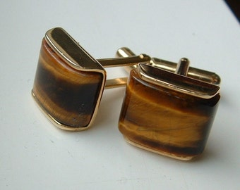 Vintage TigerEye Gem Cuff Links