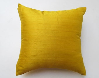 Yellow dupioni  silk pillow. Decorative luxury silk pillow cover. 18 inch throw pillow.  In stock redey to ship
