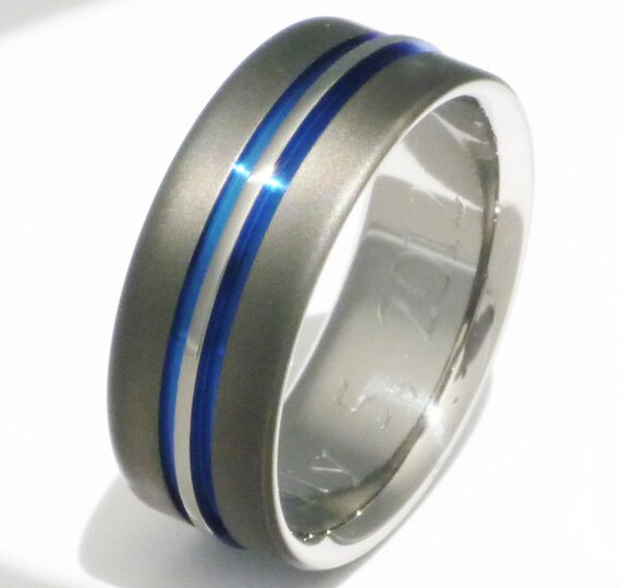Titanium Wedding Ring - Thin Blue Line Ring - Unique Sable Finish - sa20