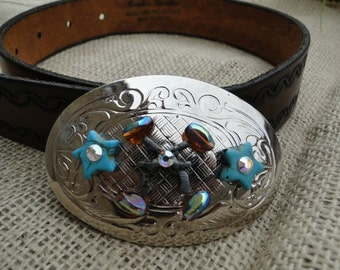 Vintage Belt Buckle with turquoise and BLING - Free Shipping