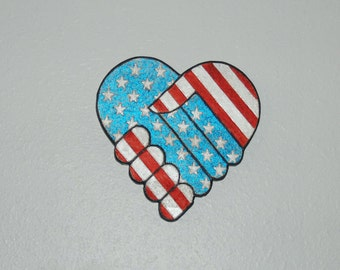 Patriotic Wood Carving - Red White and Blue Handshake - hand painted - 13059