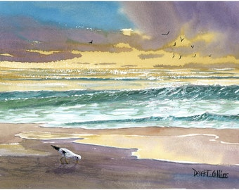 Watercolor landscape seagull  Painting PRINT  ocean sunset  beach surf Giclee Reproduction yellow teal taupe 11x14