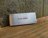Ammo Cash Custom Hand Stamped Gun Lover Second Ammendment Money Clip with Rifle or Hand Gun Image in Aluminum or Copper by MyBella