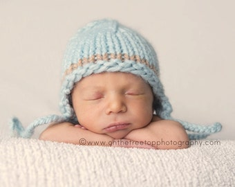 Newborn Boy Hat, Baby Hat, Handmade Ear Flap Hat ,Blue Boy Hat with Light Brown Accent, Photography Prop