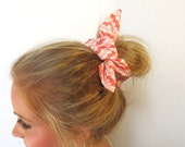 Fabric Bun Wrap, Coral and White Wavy Stripe, Wire Hair Accessory for Buns or Pony Tails, Teen-Girl-Woman