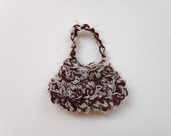 Handmade Barbie Clothes Purse Handbag Crochet Brown Tweed
