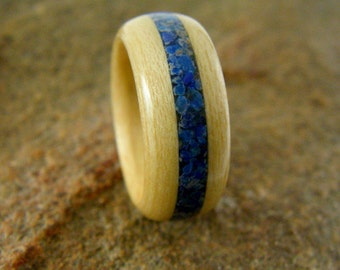 Wood Ring Maple with Lapis Inlay