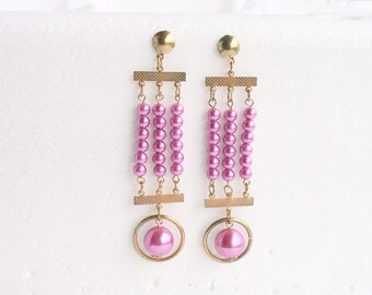 Vintage Long Pink Bead Earrings Dangle Pierced Vintage Shoulder Brushing Bright Fuchsia