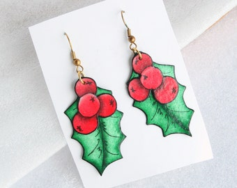 Christmas Holly Leaves Earrings Pierced Vintage  Dangles Holly Berries Red Green Colorful