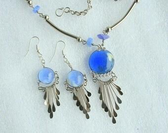 Blue Southwestern Necklace Earrings Set Vintage Round Blue Glass Silver Spoon Drops Pierced Dangles
