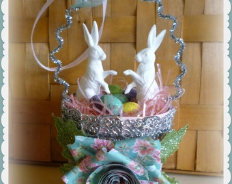 Vintage-Inspired Easter Basket Ornament with 2 White Rabbits & Eggs