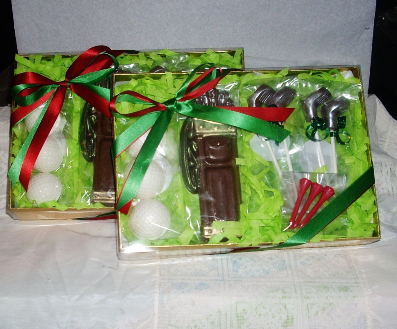 Chocolate Golf Gift Set golf bag balls clubs and tee's