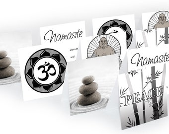 Zen Mini Note Cards, YOUR CHOICE, Buddha, Namaste, Ohm, Peace, Variety, notecard, Thank You, Lunch Box Notes (Set1)