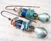 Wind and Water. Cotton pearl, roman glass, apatite gemstone, trade beads rustic gypsy assemblage earrings.