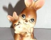 Vintage Napcoware Bunny Figurine - Napcoware 9617 - Mamma Bunny with Baby Bunny - Rabbit Figurine - Collectible Bunny Rabbit - Small Bunny