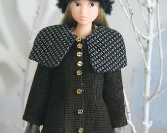 jiajiadoll brown and black big collar coat - for momoko or misaki or Blythe