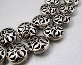Hollow, Antiqued Sliver Plated, Lacy Filigree, Round Cushion Bead, Focal - 16x8mm - 4 Beads