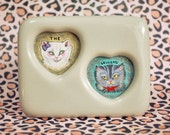 The Lovecats, Original Miniature Framed Painting, Love Cats