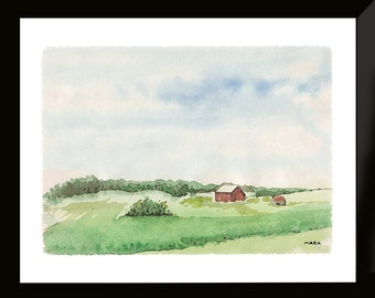 Indiana Art Print - Indiana Barn Artwork – Little Red Barn Watercolor