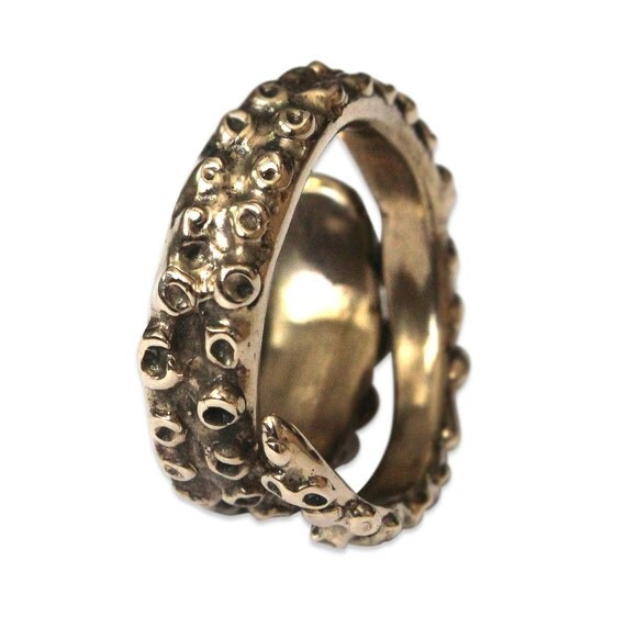 Octopus Tentacle Ring in Solid Bronze Octopus Tentacle Ring 077