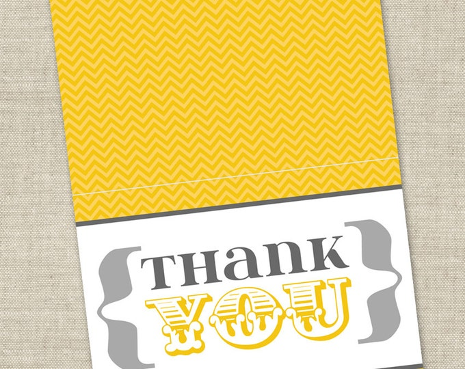 Yellow and Gray Baby Shower Grey Thank You Card - Gender Neutral Printable Instant Download Digital File