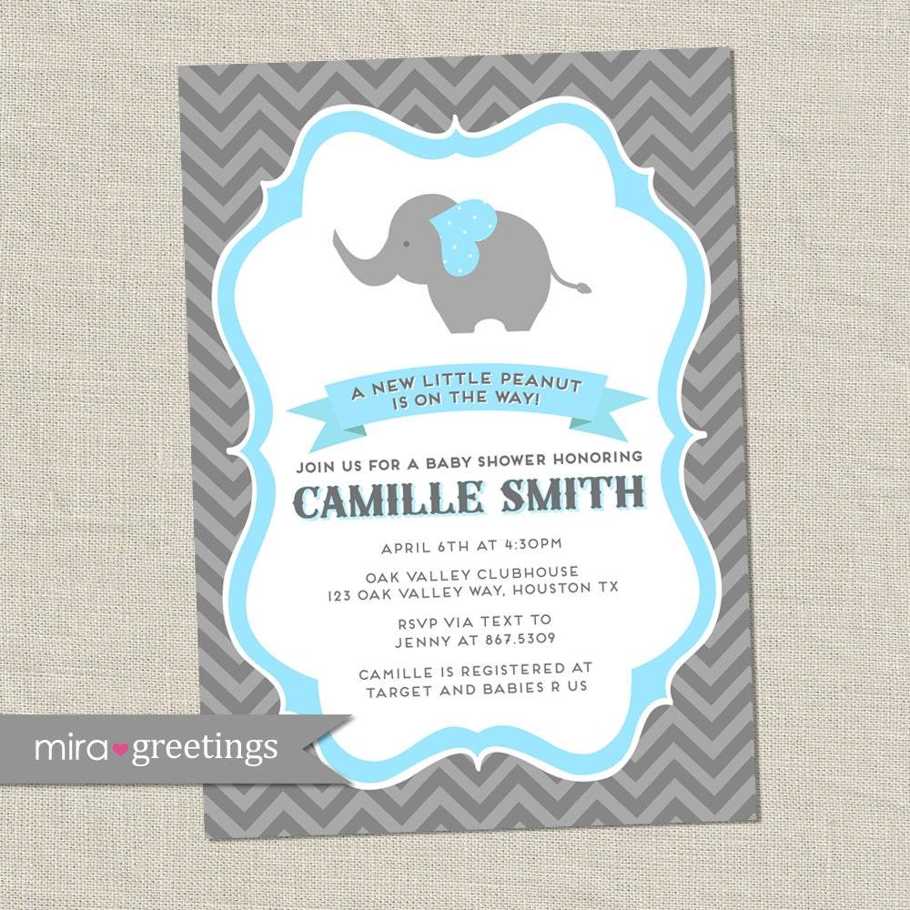 Gray Elephant Baby Shower Invitation - Chevron Peanut Shower Invite ...