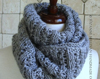 Gray Lace Infinity Scarf, Cowl Scarf, Hand Knitted Cowl Scarf, Infinity Cowl