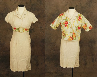 vintage 50s Dress Suit - Taupe Floral Linen 1950s Wiggle Dress and Jacket Set Sz XS S