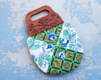 Boho Patchwork Quilt Floral Purse - Folk Tooled Leather Handbag #2