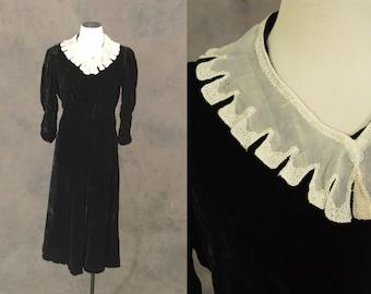 vintage 30s Dress - 1930s Velvet Evening Gown - Black Velvet Dress Sz S M