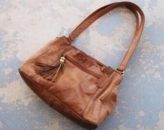 vintage 80s Purse - Boho Embossed Leather Bag - 1980s Hobo Bag