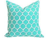 Turquoise Blue Patio Pillow, Geometric, Outdoor, Outside Pillows, Decorative Cushion Covers, Pool or  Beach House Decor 18x18