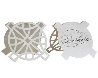 Circle Durance Escort Cards - shimmer silver, wedding place card, marriage, table number, reception, printed names, pearl shimmer, laser cut