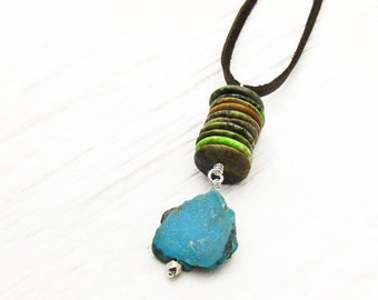 Natural Turquoise Leather Boho Necklace / Deerskin Lace Long Tribal Pendant Necklace / Blue Green Lime Brown Beige Slab Bohemian Necklace