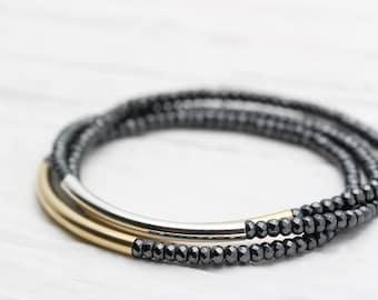 Gold Silver Shiny Bracelet Set /  Perfect Stacking Bracelets / metallic grey sparkly faceted hematite beadwork / storm cloud slate grey