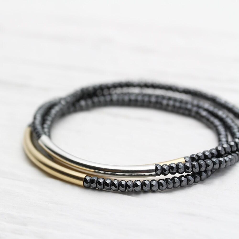 Gold Silver Shiny Bracelet Set / Perfect Stacking Bracelets