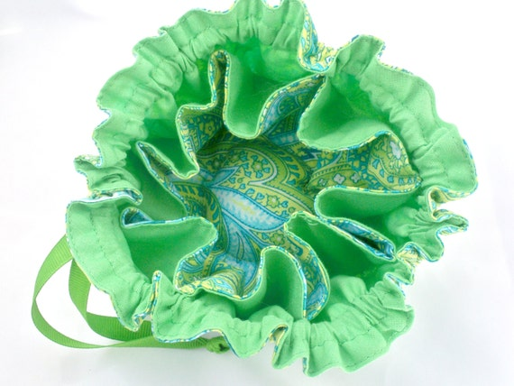 Jewelry Pouch, Drawstring Bag, Lemon, Lime, Turquiose, Cotton Paisley