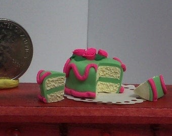 Green & Pink Frosted Yellow Layer Cake One inch scale for Dollhouse