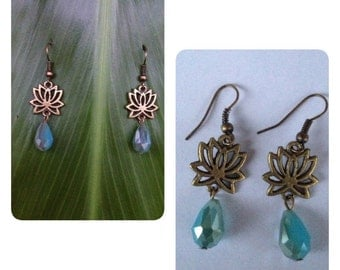 Antique Bronze Lotus Drop Earrings