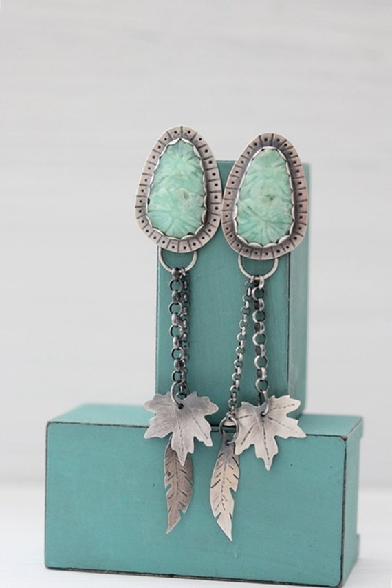 Silver Amazonite Earrings - Sterling Silver with Carved Amazonite Earrings - WINTER COMES