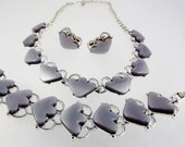 Lucite Necklace/Lucite Bracelet/Lucite Clip Earrings/Grey, Gray Costume Jewelry/Heart Jewelry, 1950s